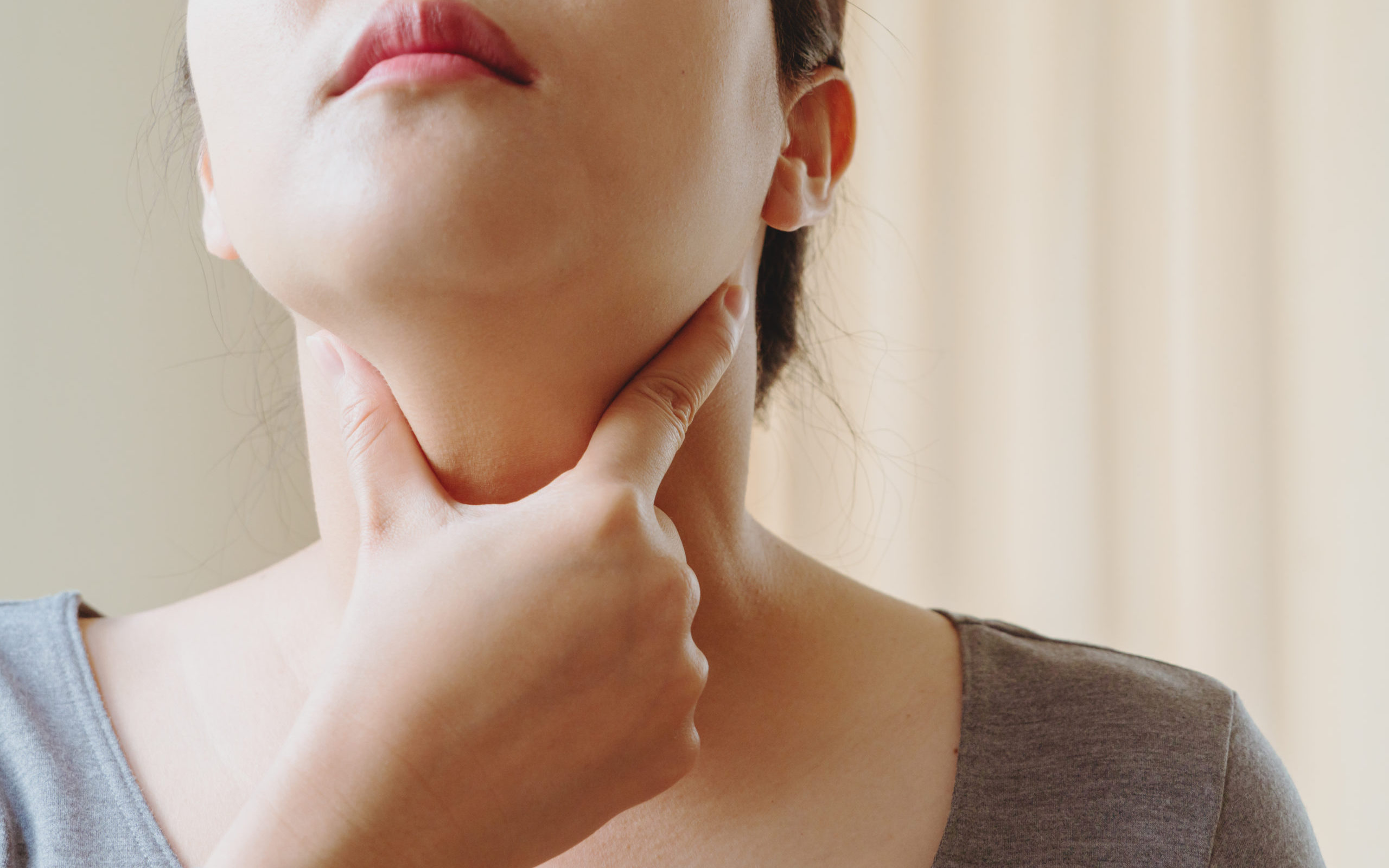 Women with thyroid gland test . Endocrinology, hormones and trea